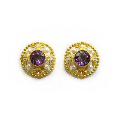 18K Amethyst & Pearl Clip Earrings