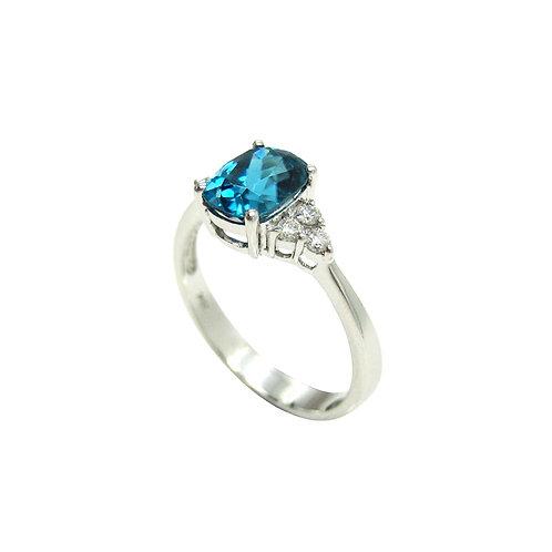 1.98 CT Blue Zircon & Diamond 18K White Gold Ring