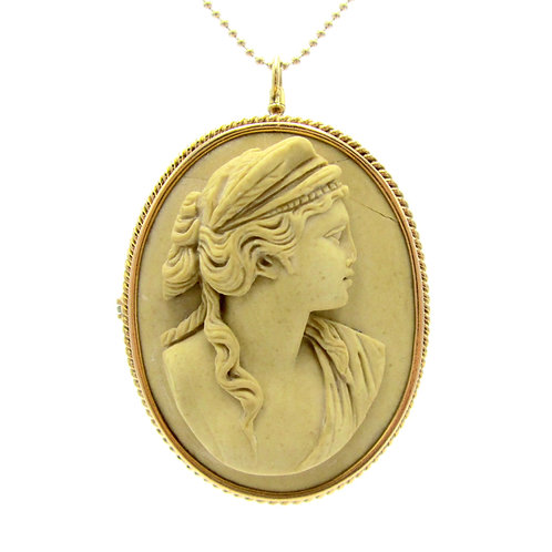 Antique Hera Lava Cameo Pendant / Brooch 14K Gold