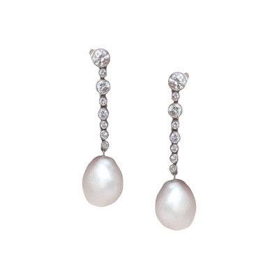 Baroque Pearl & Diamond Platinum Earrings