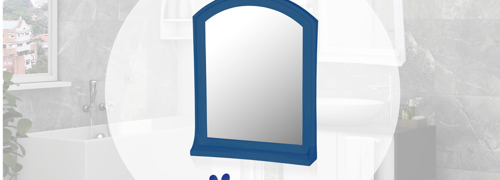 Espejo Basic con estante azul