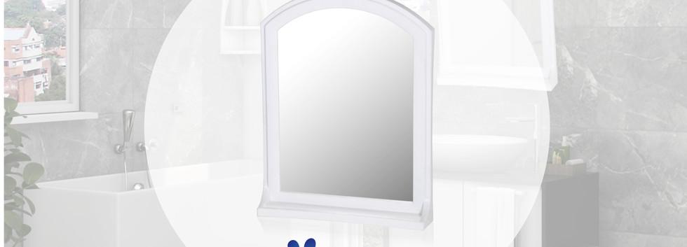 Espejo Basic con estante blanco