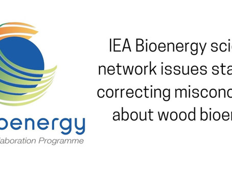 IEA Bioenergy scientific network issues statement correcting misconceptions about wood bioenergy.