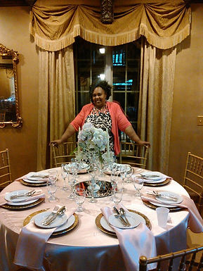 Table setup at Barkley Villa