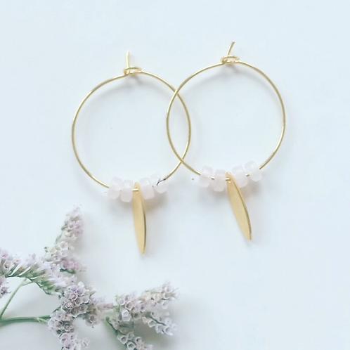 Créoles perles rondelles Quartz rose