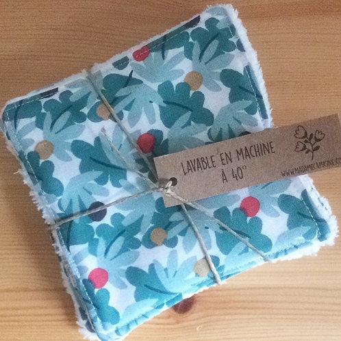 Pack de 5 lingettes Madame Capucine - fleurs turquoise