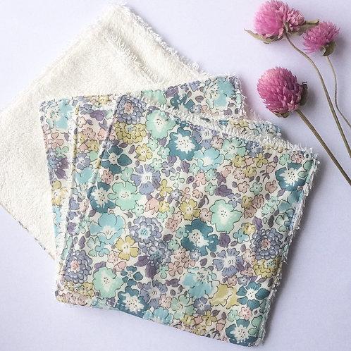 Pack de 5 lingettes Madame Capucine - fleurs mauve et bleu