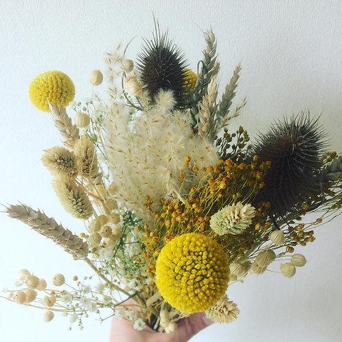 Bouquet fleurs séchées moutarde