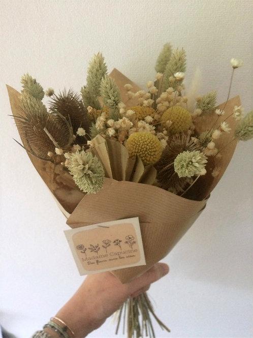 Bouquet fleurs séchées beige-moutarde