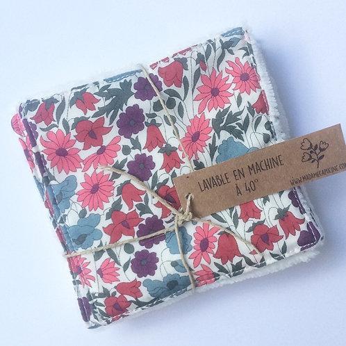 Pack de 5 lingettes Madame Capucine - fleurs roses et bleues