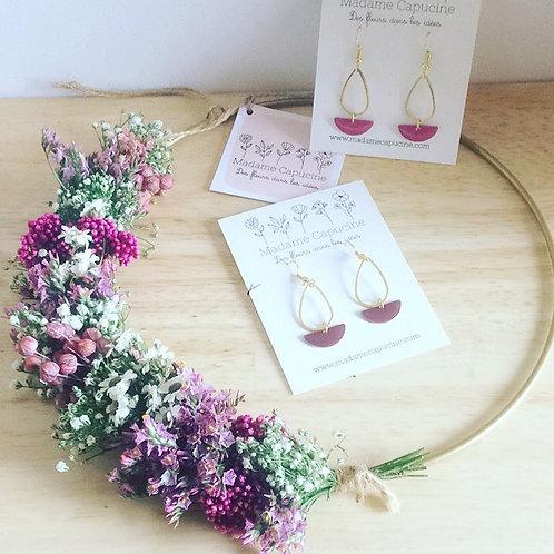 Couronne fleurs séchées 20 cm lilas/fuchsia