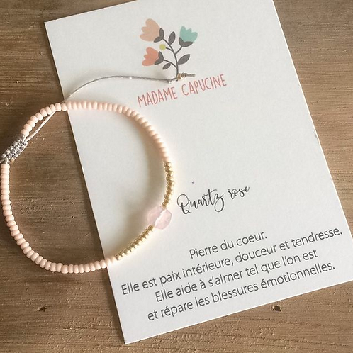 Bracelet réglable quartz rose