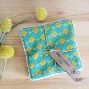 Pack de 5 lingettes vert et jaune