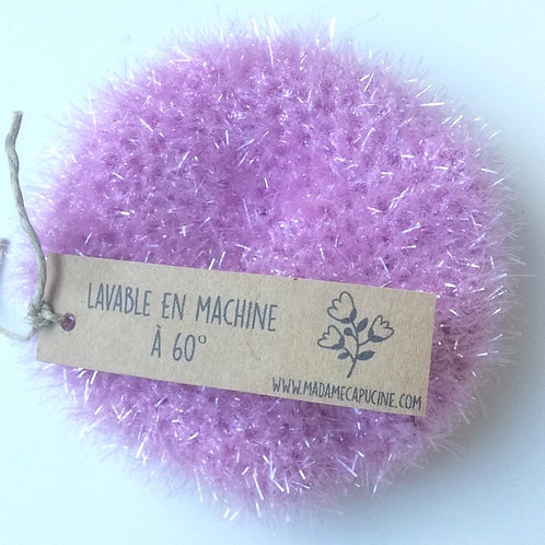 Eponge lavable Madame Capucine lilas