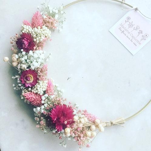 Couronne fleurs séchées 20 cm rose/blanc