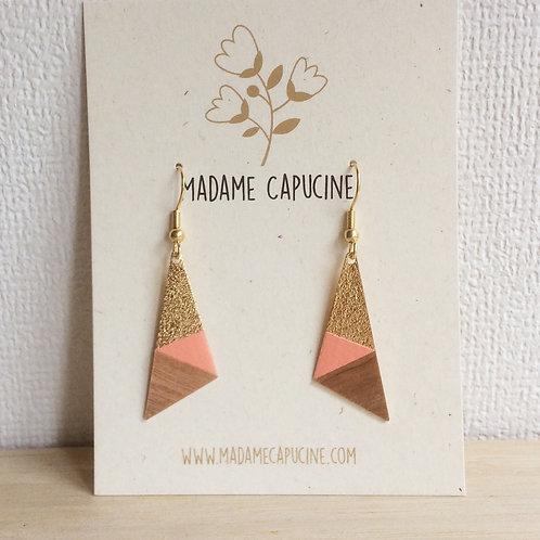 BO Madame Capucine triangle rose saumon bois