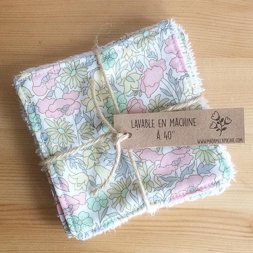 Pack de 5 lingettes Madame Capucine - fleurs pastel