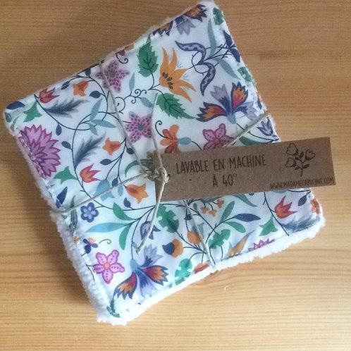 Pack de 5 lingettes Madame Capucine - fleurs liberty multicolore