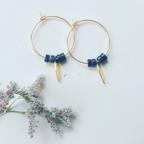 Créoles perles rondelles Lapis lazuli