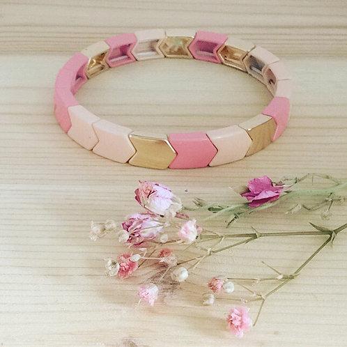 Bracelet géométrique corail et doré