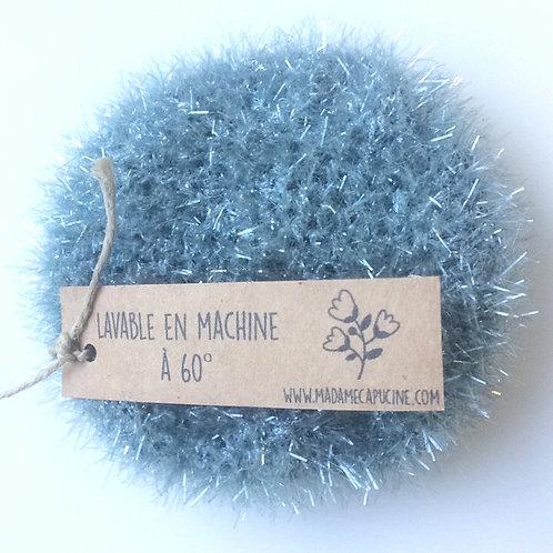 Eponge lavable Madame Capucine bleu gris