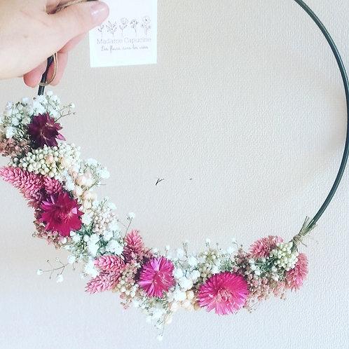 Couronne fleurs séchées rose fuchsia 25 cm