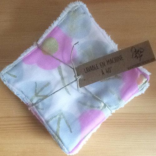 Pack de 5 lingettes Madame Capucine - fleur rose et doré