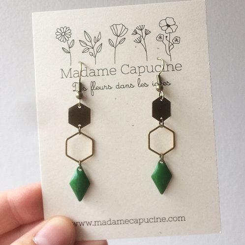 BO Madame Capucine double hexagone vert foncé