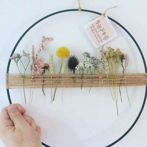 Couronne corde lilas/moutarde 30 cm
