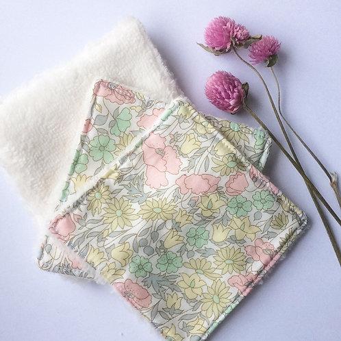 Pack de 5 lingettes Madame Capucine - fleurs rose et vert