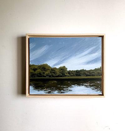 A Dip in Lake Hope, Original Oil Painting