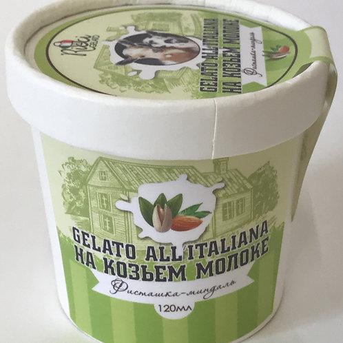 Джелато на козьем молоке Фисташка-миндаль (стаканчик 120 мл. с ложкой)
