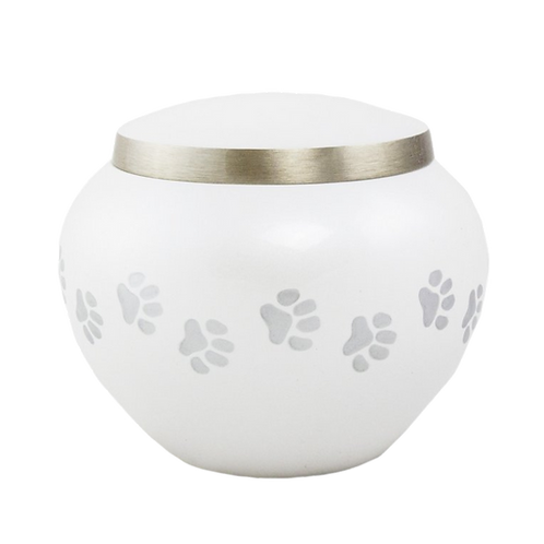 White Fancy Urn with Paw Prints
