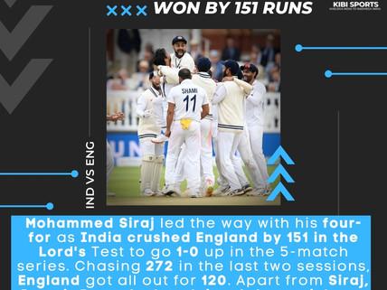 India beat England at Lord's: Shami, Bumrah & Siraj set up the historic win for India at Lord's