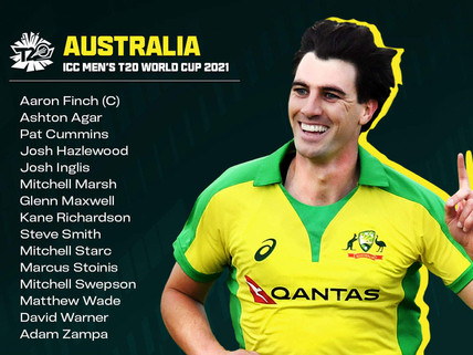 Australia announce 15-man squad for T20 World Cup