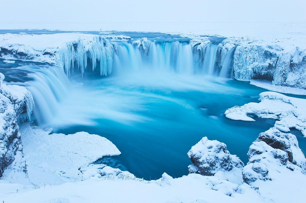 Beautiful Godafoss-Waterfall in Winter C