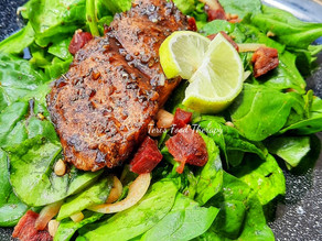 Spinach & Beets Salad with Balsamic Honey Glazed White Fish