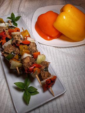 Geera Chicken & Roasted Sweet Pepper Kebabs