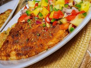 Jerk Butter Fish with Pineapple Salsa