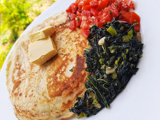 Saltfish Pancakes with Steamed Spinach and Basil Tomatoes