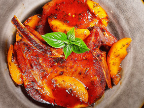 Brown Sugar Glazed Smoked Pork Chops with Peaches