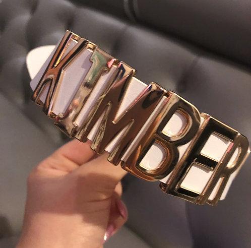 CUSTOM CHOKER - Gold letters on white collar