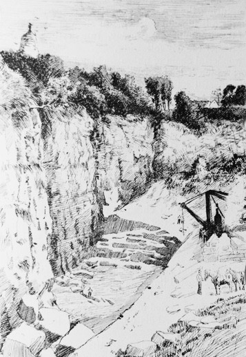 A drawing of how the Quarry was back in the day. Look closely and you will see the face of the wall looks the same today.