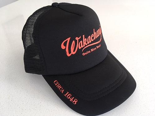 Wakachangi Black Trucker Cap