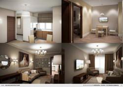 Кухня + гостиная комната
