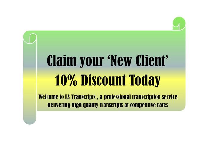 Transcription Service - New Client Discount