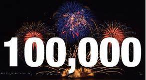 100,000 number plus fireworks - celebrating 100,000
