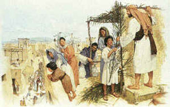 Children of Israel observing Sukkot