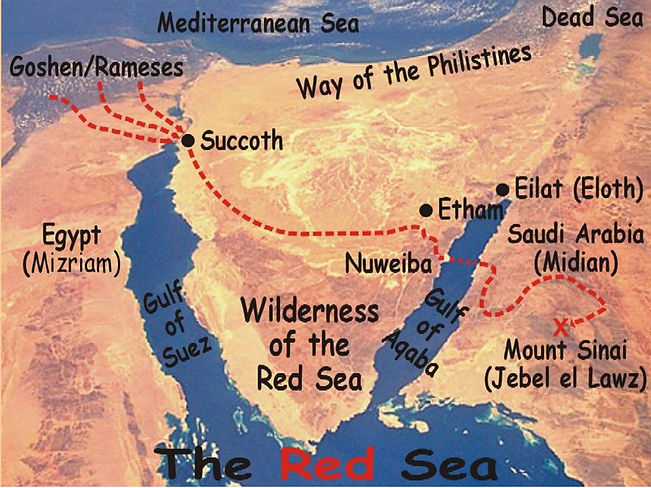 Map of the migation path of Israel from Egypt to Mount Sinai
