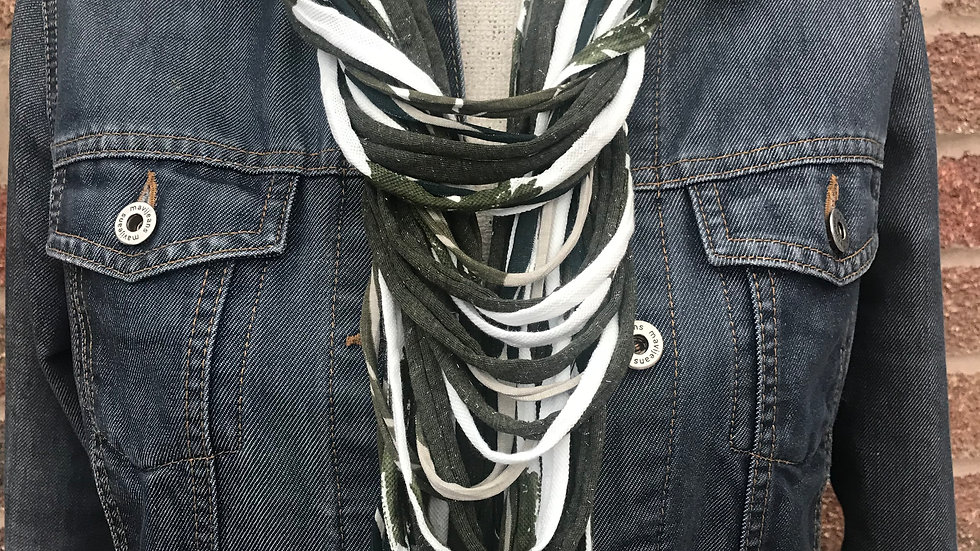 Khaki & White Leaf Print Multi Strand Scarf Necklace